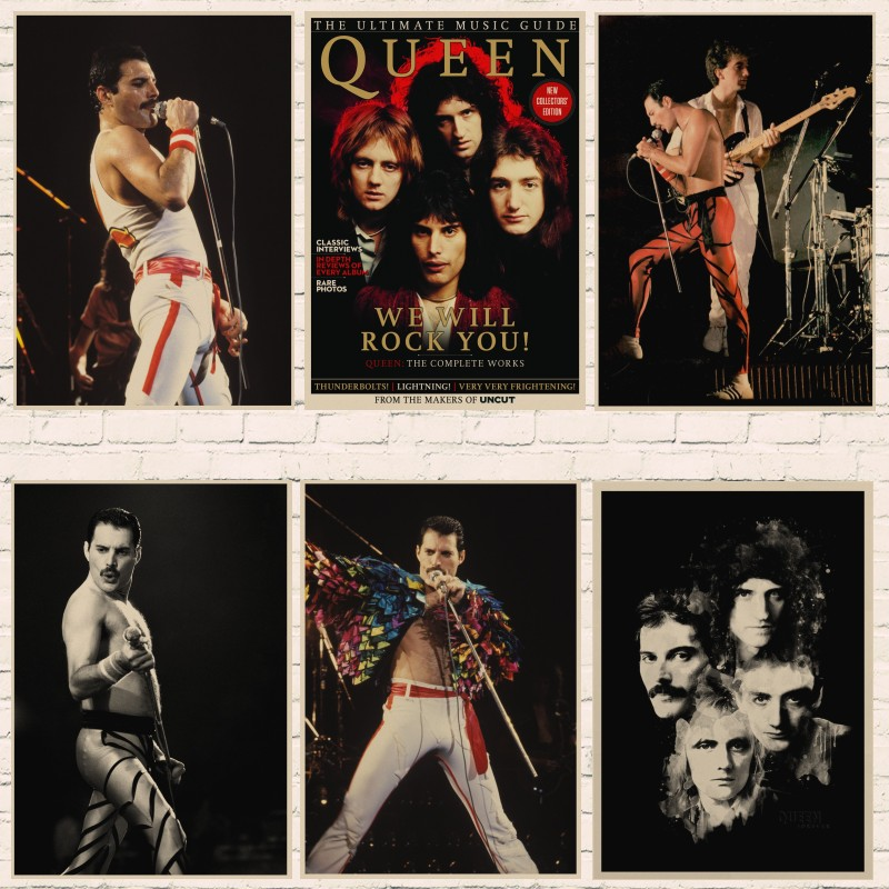 Queen Band Music Kraft Paper Poster Freddie Mercury Singer Art Classic Retro Posters Home Room Decor Wall Sticker A6