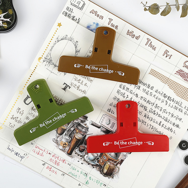 One Size 3 Colors Japanese Stationery Plastic Magnetic Binder Clips Bill Fold Notes Letter Notebook Clamp School Office Supplies