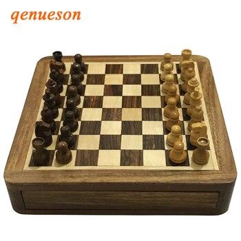 Upscale Solid Wood Magnetic Super Mini Chess Portable Non-slip Drawer Pieces Box Exquisite Puzzle Convenient Storage Board Games