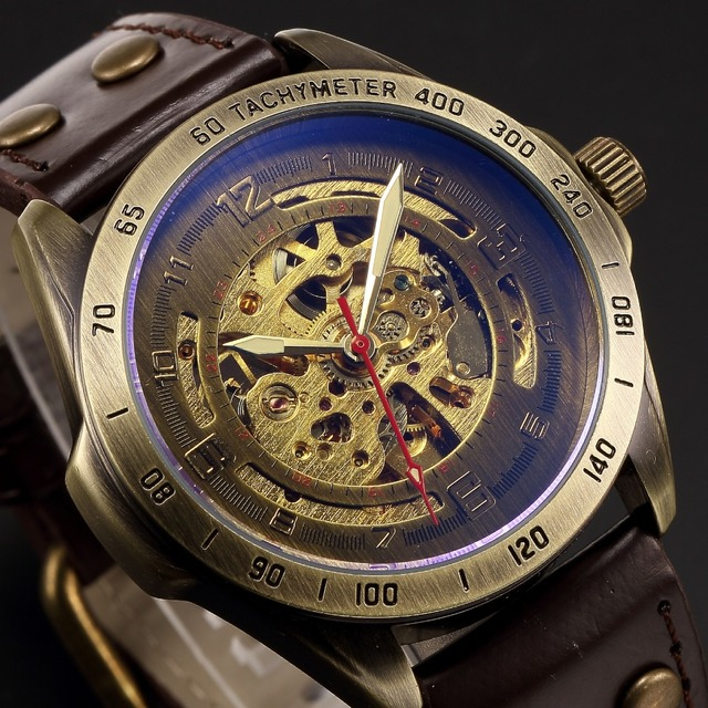 Watch Men Mechanical Automatic Watch Steampunk Skeleton Self Winding Mens Watches Retro Leather Wristwatch Clock montre homme