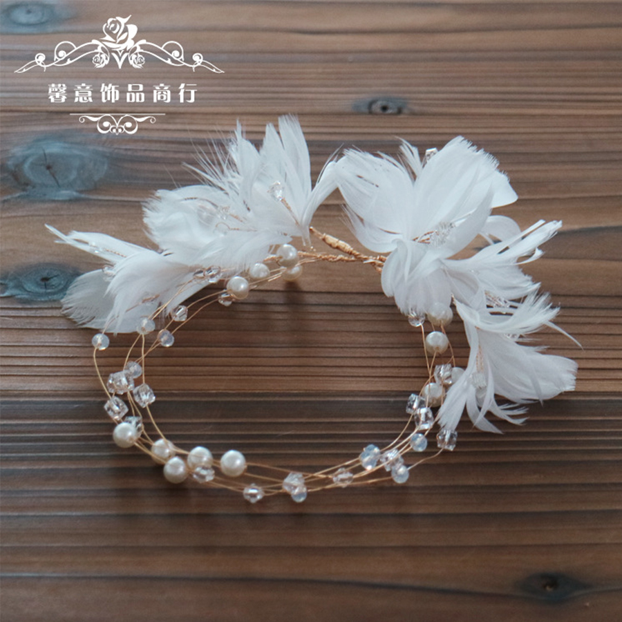 1pc Bridal'hair Garland Hairband Corolla Crown Feather Floral Flower Wedding Headpiece For Hair Ornaments Jewelry Accessories the art of marvel vol 2