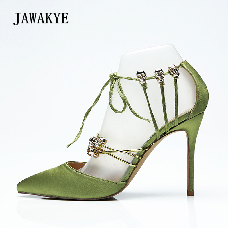 f63341cefa5 2018 Luxury Satin Sandals Women Pointed Toe Cross Strap Skull Rhinestone  Decor High Heel Shoes Woman Sexy Party Shoes