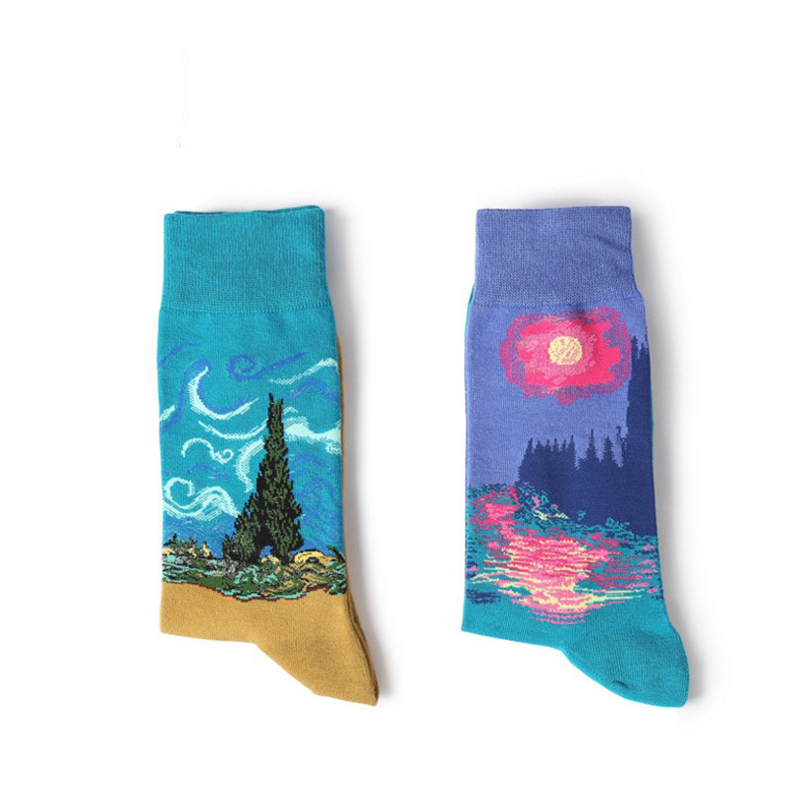 2018 hot selling Mens Casual breathable Combed Cotton Socks Oil Painting Crew Socks Colorful Funny happy Winter Happy Socks
