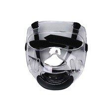 Спортивный прозрачный пластиковый экран на лицо голова щит съемный шлем тэквондо Маска Защитное снаряжение спортивная Прозрачная защитная маска