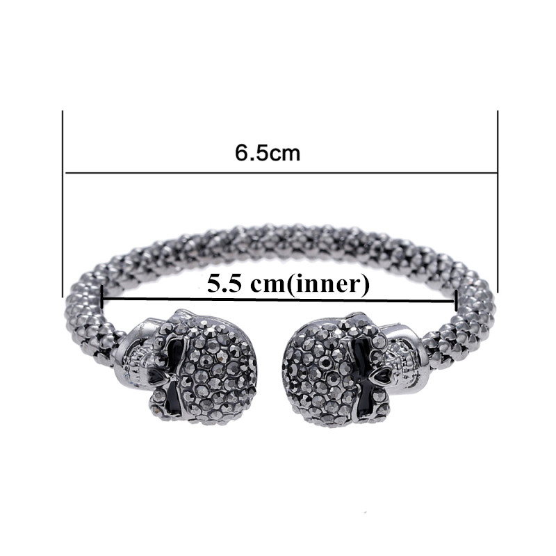 Punk Skull Crystal Open Bangle For Men 3 Color Gothic Skeleton Double Skull Heads Cuff Bracelets & Bangles Men's Jewelry 5