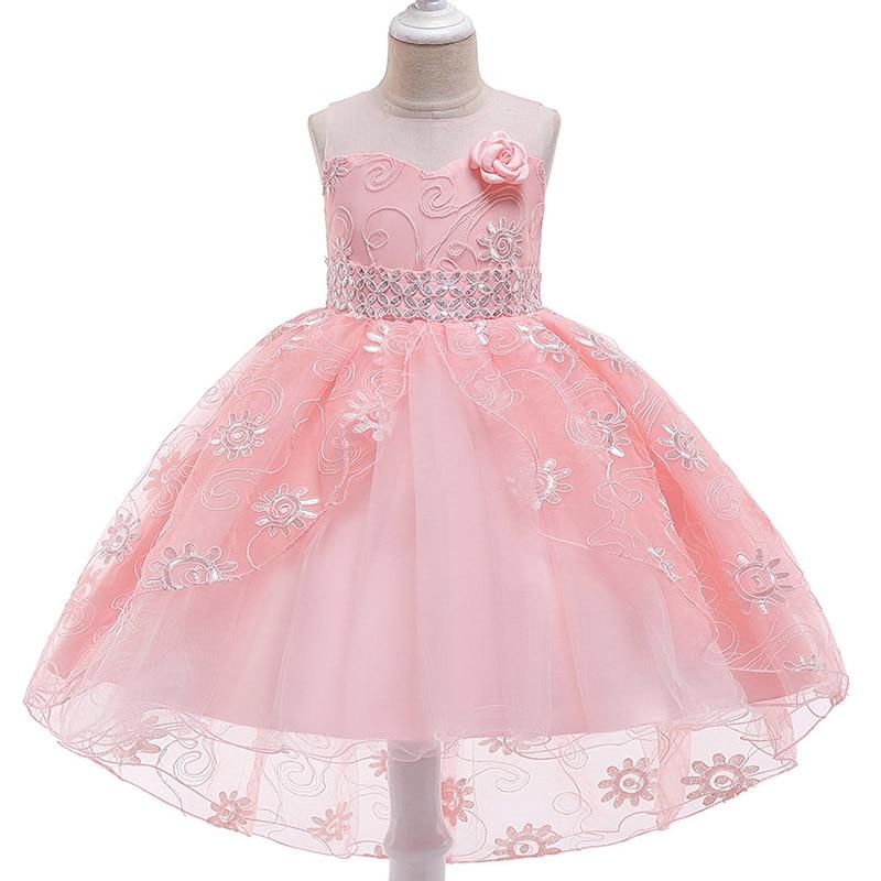 2019 Sequin Flower Trailing Girls Dress Children's Party Dress Flower Lace Girls Pageant Ball Gown Dress Vestido Comunion