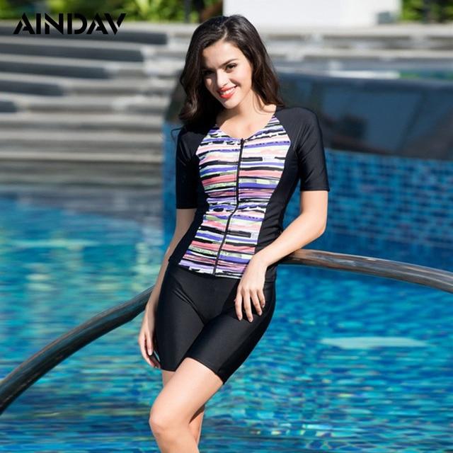 4d28fa5522 Front Zipper Swimwear Two-Piece Swimsuit Knee Length Swimming Suit for  Women Athlete Sport Bathing