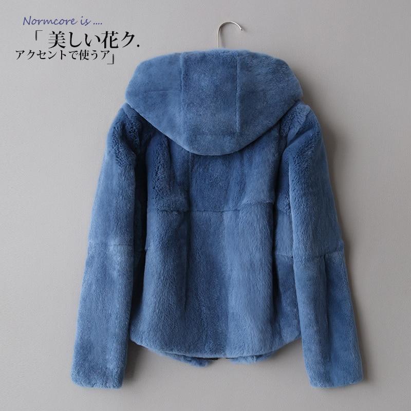 2018 roku cały skóra Rex futro płaszcz zimowy, krótki płaszcz z kapturem Slim koreańska wersja w Prawdziwe futro od Odzież damska na  Grupa 1