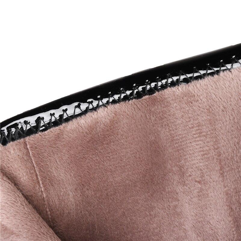 Fedonas Chaussures Top Véritable Apricot Cuir Bottes Talons Chaud Hiver Hauts En Femme Stretch Uni Automne Verni Qualité Vache Femmes noir À rAnBdTr8