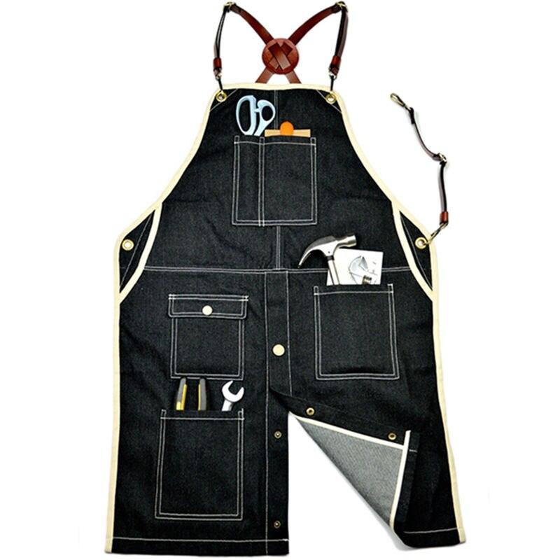 Black Denim Apron Crossback Cow Leather Strap Barber Florist Carpenter Artist Work Wear Barista Bartender Pastry