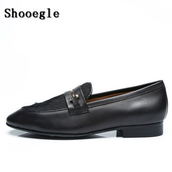 SHOOEGLE Men Customized Black Leather Hair Shoes Autumn Fashion Fur Slip-on Loafers Smoking Casual Shoes Man Party Dress Shoes