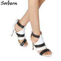 Sorbern Zipper Open Toe Summer Sandals Womens Size 11 Shoes Fashion Heels High Quality Brand Custom Color Ladies Sandals White