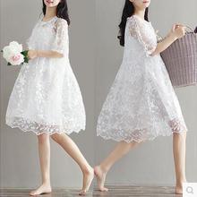 9077 Одежда для беременных, летний комплект-двойка, кружевное цельнокроеное платье для беременных, белое платье с вышивкой для беременных