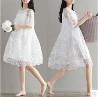 9077 2017 Maternity Clothing Summer Twinset Lace Maternity One Piece Dress White Embroidery Maternity Dress For