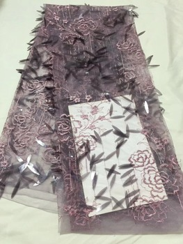 New fashion embroidered Mesh Tulle fabric with nice looking sequins Nigerian lace fabrics TS7307