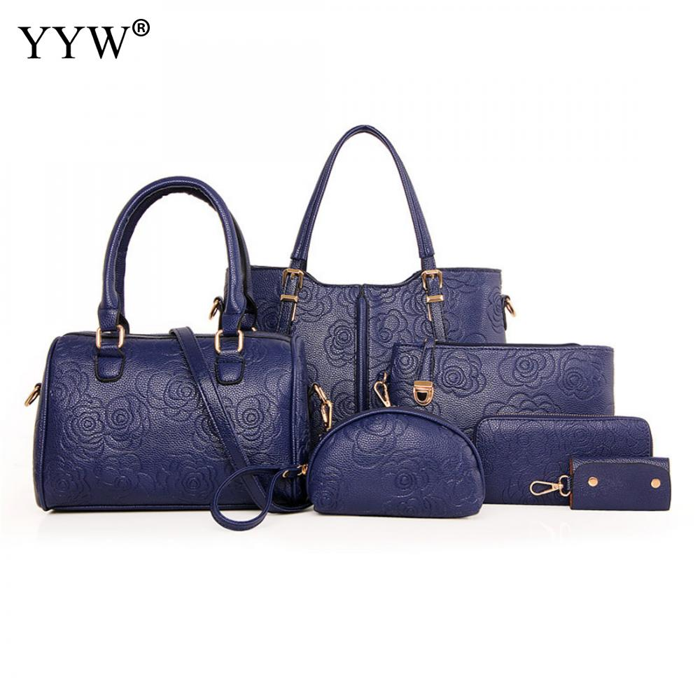 6 PCS/Set Blue PU Leather Handbags Women Bag Set Brands Tote Bag Lady's Shoulder Crossbody Shopping Bags Clutch Bag Womens'Pouch
