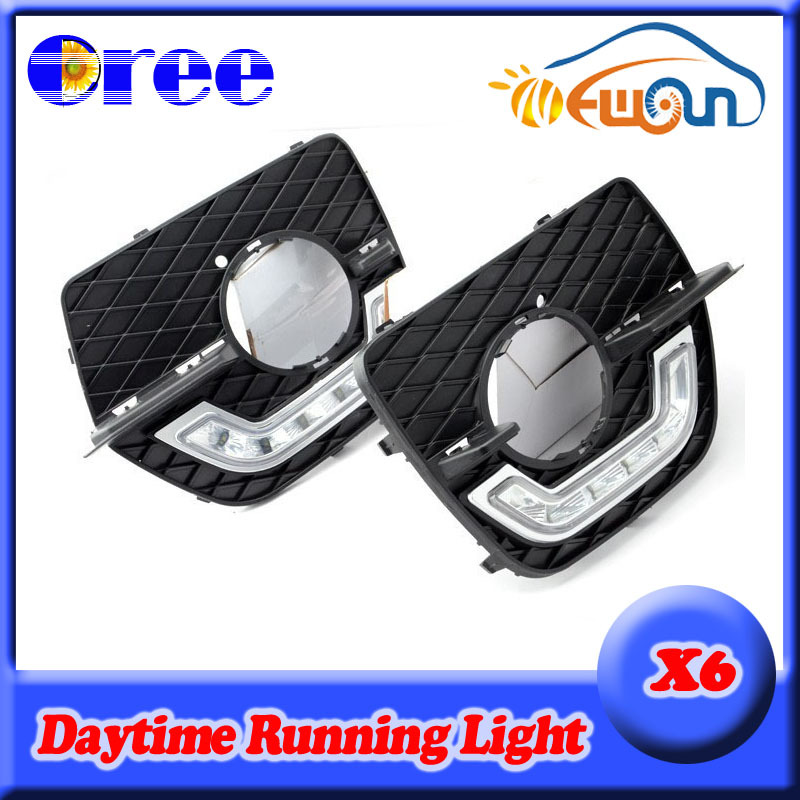 High power Super bright DRL Led daytime running light Daylight Lamp Kit fog lamp cover for BMW X6 E71 2008-2012 2009-2012