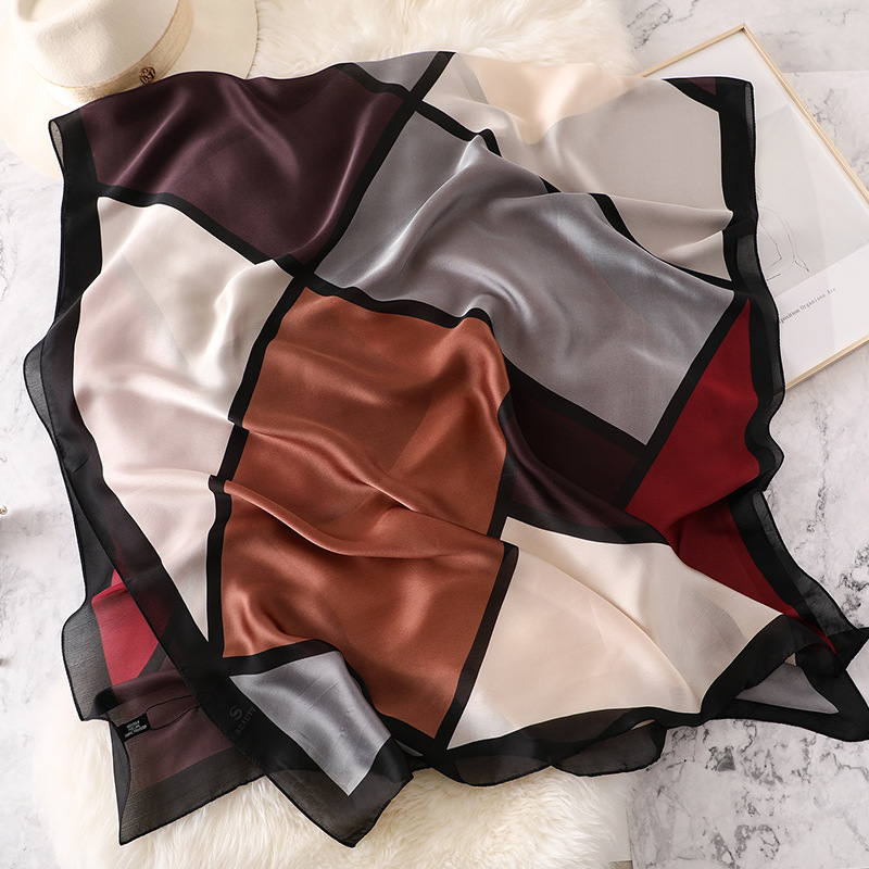 90 180 Cm Women Silk Scarf Luxury Geometric Pattern Summer Shawl Lady Travel Pashmina Scarves Fashion Beach Scarfs Hijab in Women 39 s Scarves from Apparel Accessories