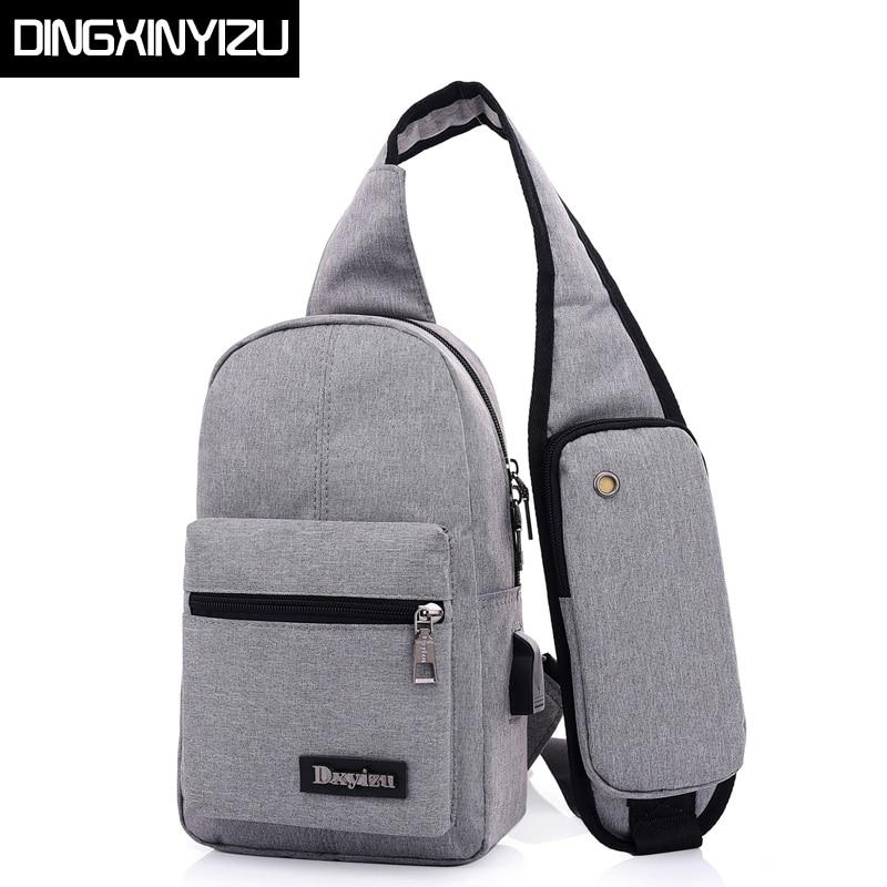 DINGXINYIZU Canvas Men Chest Pack Women Single Shoulder Strap Back Bags Travel Male Crossbody Bags Sling Shoulder Bags Back Pack