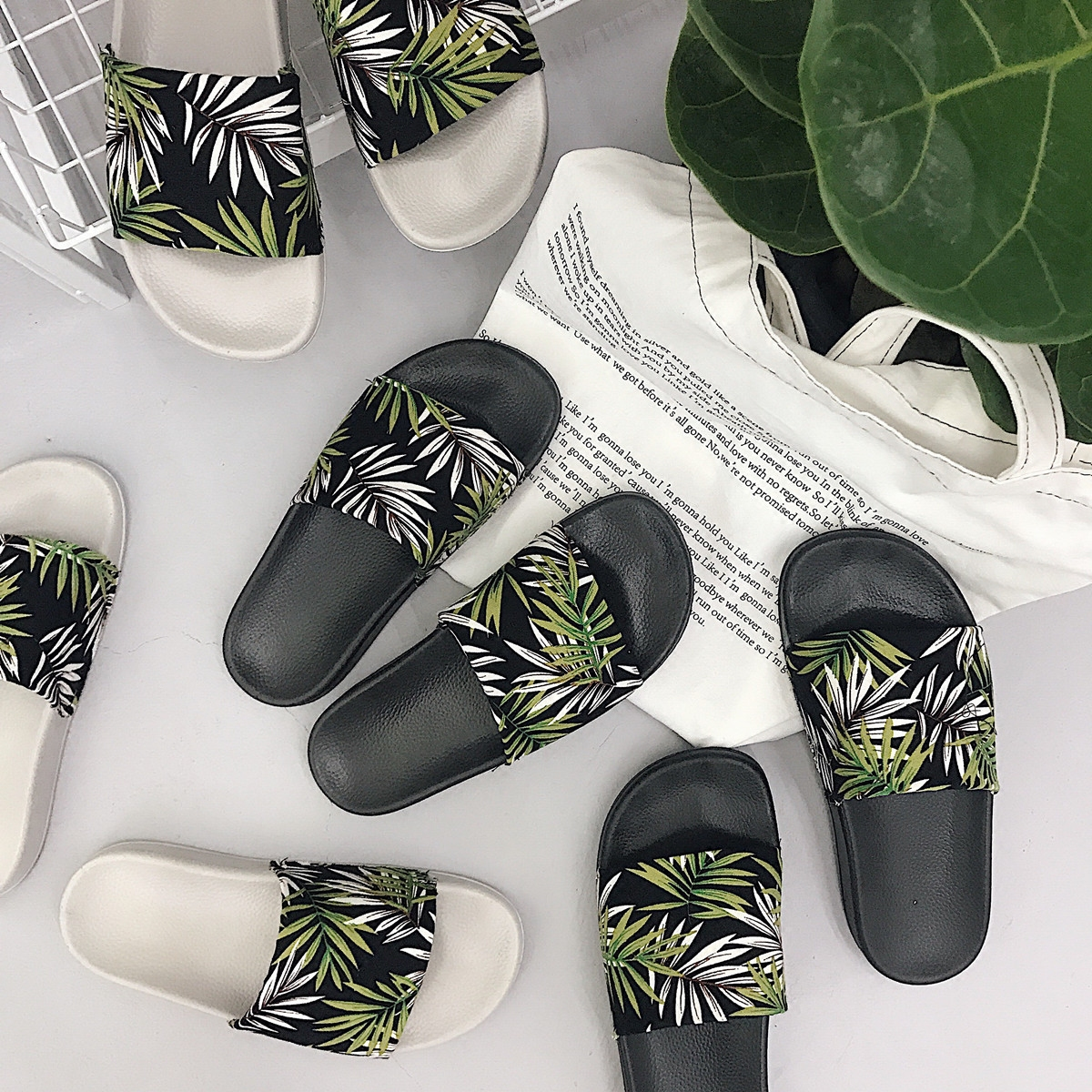 79239bcb2 Women Slides Summer Platform Slippers Women Fashion Shoes Green Leaves Flip  Flops Sandals Holiday Beach Slides Zapatillas Mujer-in Slippers from Shoes  on ...