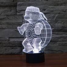 Turtle shape Dimensional visual 3d lights touch LED Colors Changeable creative gifts USB desk lamp 3D led nightlight