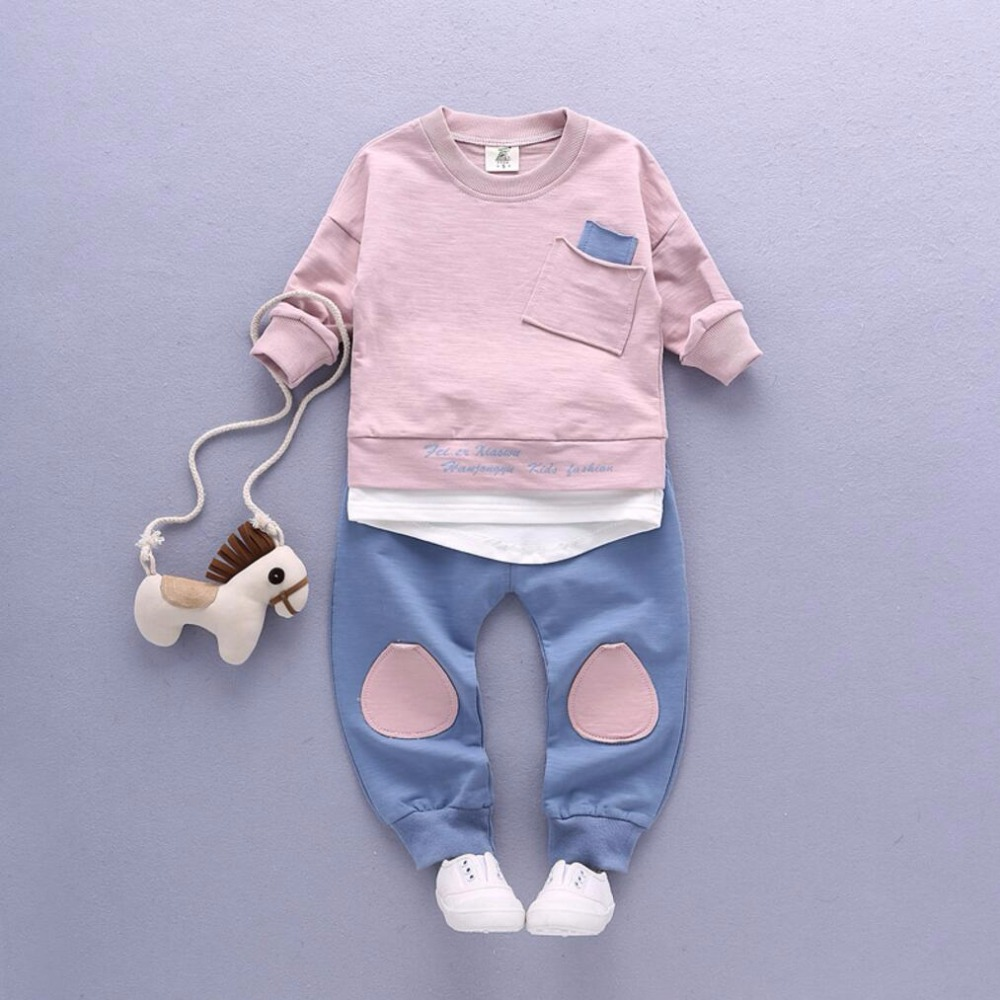 2PC Toddler Baby Boys Clothes Outfit Infant Boy Kids Shirt Tops+Pants Casual Clothing Spring/Autumn Children Clothing Set Cotton 1