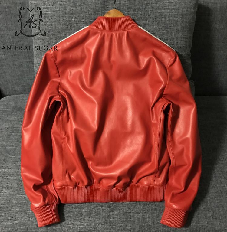 Veste Baseball Mouton Sexy rouge Moto Rouge Automne Noir Mince Et Décontracté Noir Ol Peau Bureau Femmes En De Cuir Véritable SW4Bq