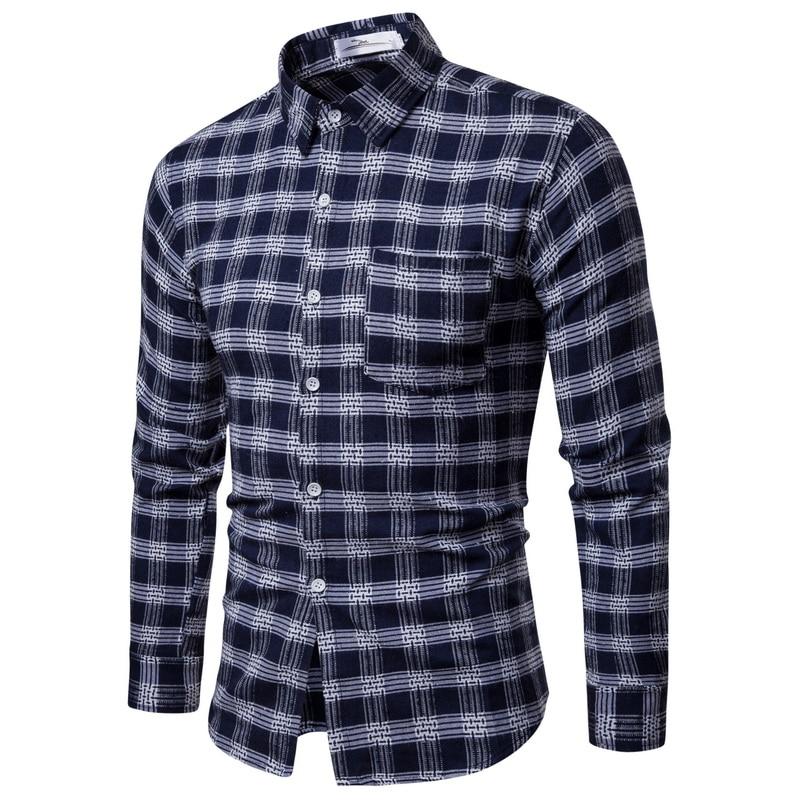 leving Men Plaid Shirts New Mens Dress Shirts Long Sleeve Slim Casual Black White Social Male Clothes Chemise Homme 25