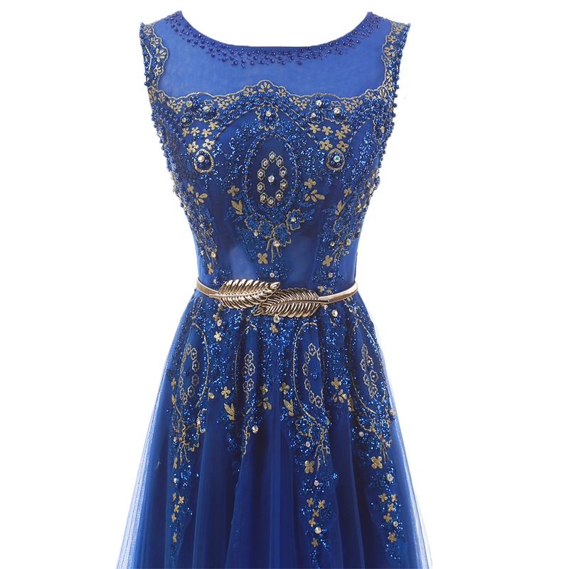 Champagne Long Elegant Appliques Beading Party Prom Dresses 5