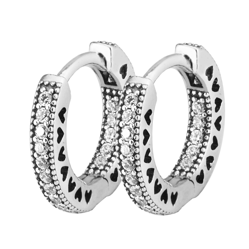 Hearts of Brand Hoop Earrings Silver 925 Jewelry Clear CZ Earrings for Women Sterling-Silver-Jewelry 15mm Free Shipping pair of delicate shell decorated hoop earrings for women
