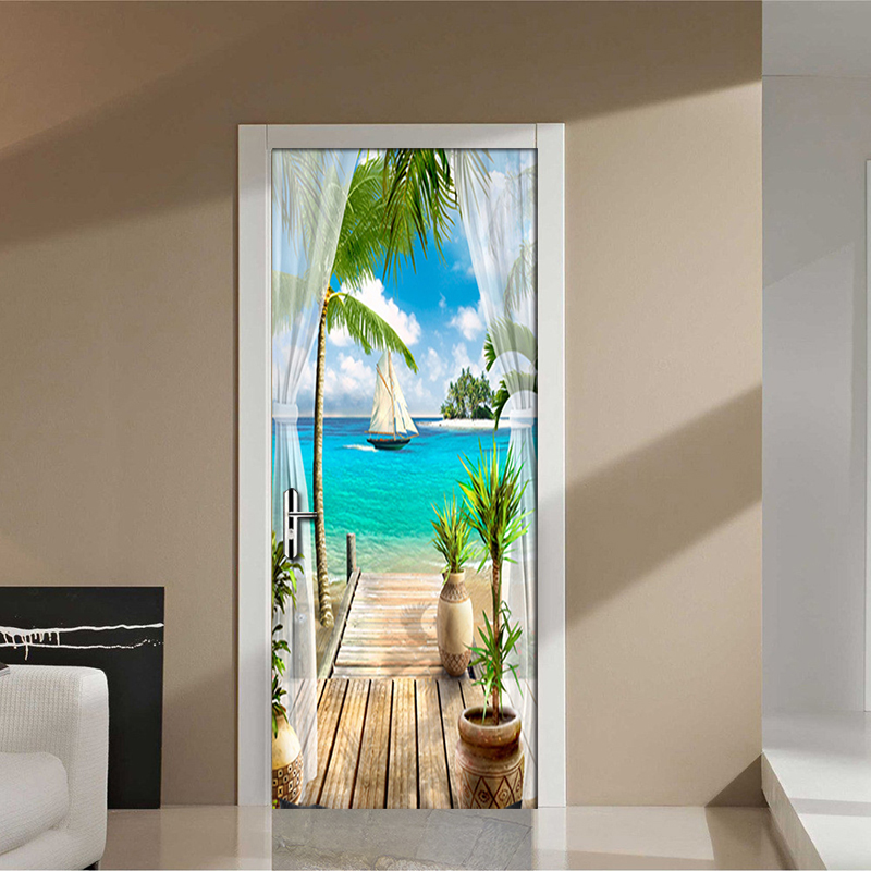 Custom Photo Wallpaper Mural 3D Window Blue Sky White Clouds Coconut Tree Landscape Mural PVC Self-adhesive Door Stickers Fresco blue sky white clouds beach coconut tree backdrops fotografia fundo fotografico natal background photograph