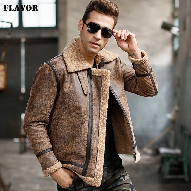 Mens real leather jacket motorcycle pigskin Genuine Leather jackets winter warm coat Aviator jacket flight bomber jacket