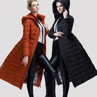 Yüksek Kalite kadın Kapşonlu Uzun Aşağı Puffer Coat Kış Tam Uzunlukta Aşağı Parkas kadın Kış Ağır Yorgan Ceket