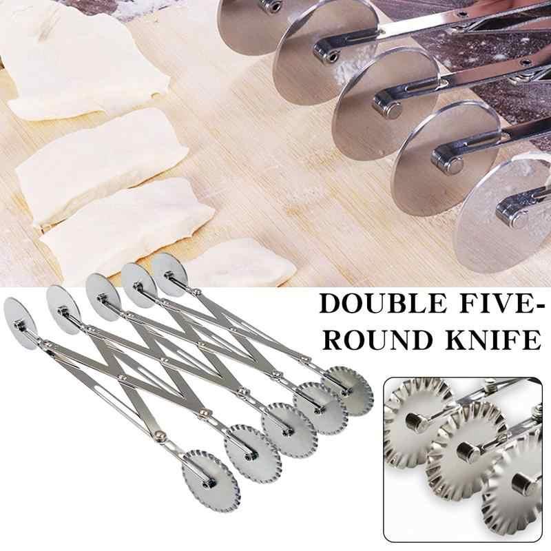 Cuchillo de rueda móvil para cocina con doble rueda para tarta, cuchillo multifunción de acero inoxidable para Pizza, cuchillo multirueda para hornear herramienta