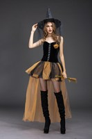 2019 Halloween Carnival Cosplay Women Witch Costume Sleeveless Adult Short Mesh Costumes Black Party Fantasia Dresses