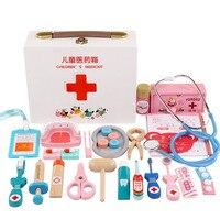 Children's wooden simulation Pretend Play Doctor toy nurse injection Game Medicine Box