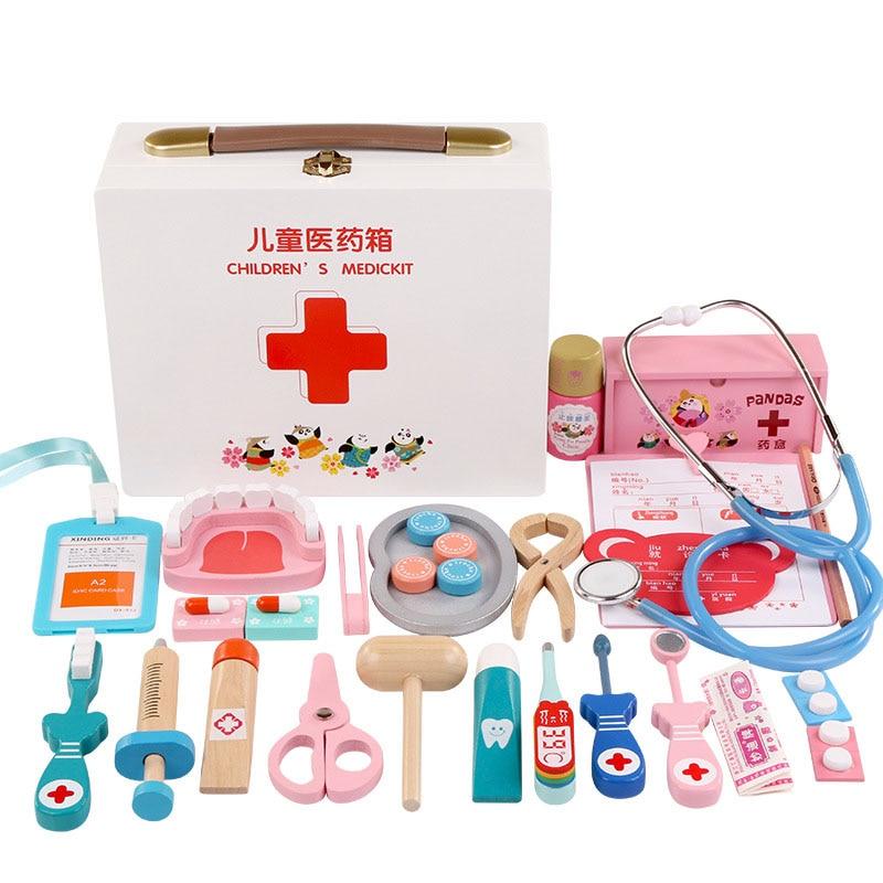 Simulation en bois pour enfants semblant jouer docteur jouet infirmière jeu d'injection boîte de médecine