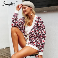 Simplee Heart print ladies knitted cardigan female Casual Single breasted jumper 2018 Autumn winter oversized women sweater tops