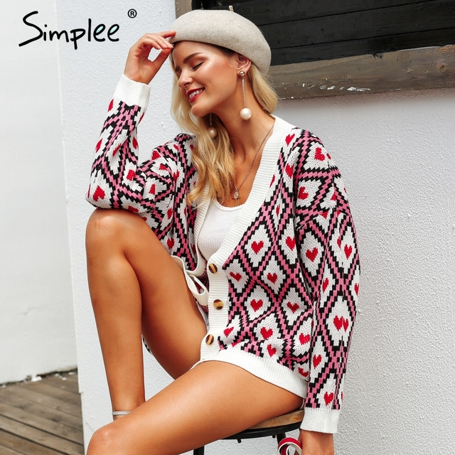 Simplee לב הדפסת גבירותיי סרוג קרדיגן נקבה מקרית יחיד חזה jumper 2018 סתיו החורף גדול נשים סוודר חולצות