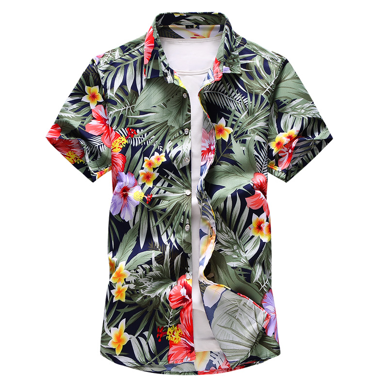 Shirt Men 2019 Summer New Short Sleeve Hawaiian Shirt Mens Casual Button Down Dress Shirts For Holiday Chemise 7XL