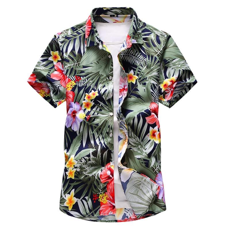 Shirt Men 2019 Summer New Short Sleeve Hawaiian Shirt Mens Casual Button Down Dress Shirts For Holiday Chemise 7XL