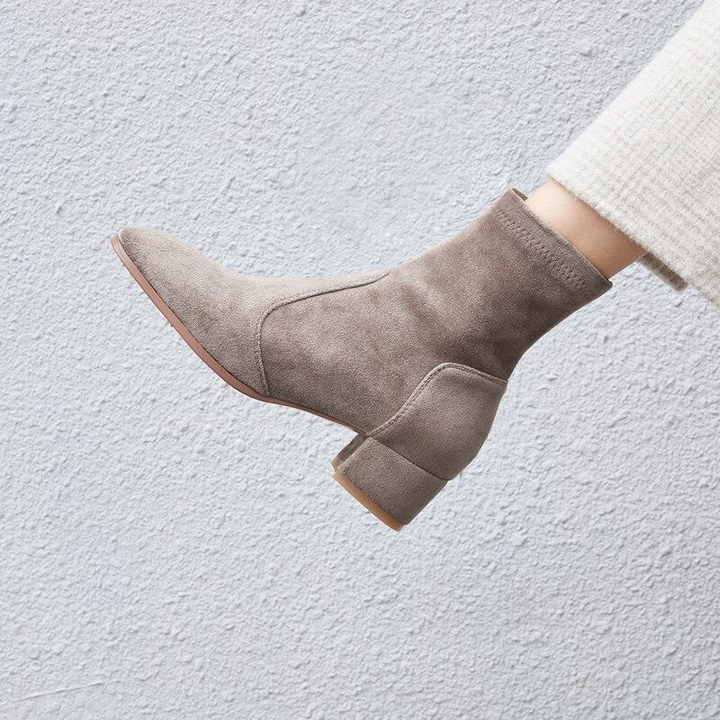 Vangull/женские эластичные ботинки из флока; Замшевые полусапожки; Модная классическая стелька из овчины с острым носком ручной работы; Универсальная обувь|Полусапожки|   | АлиЭкспресс
