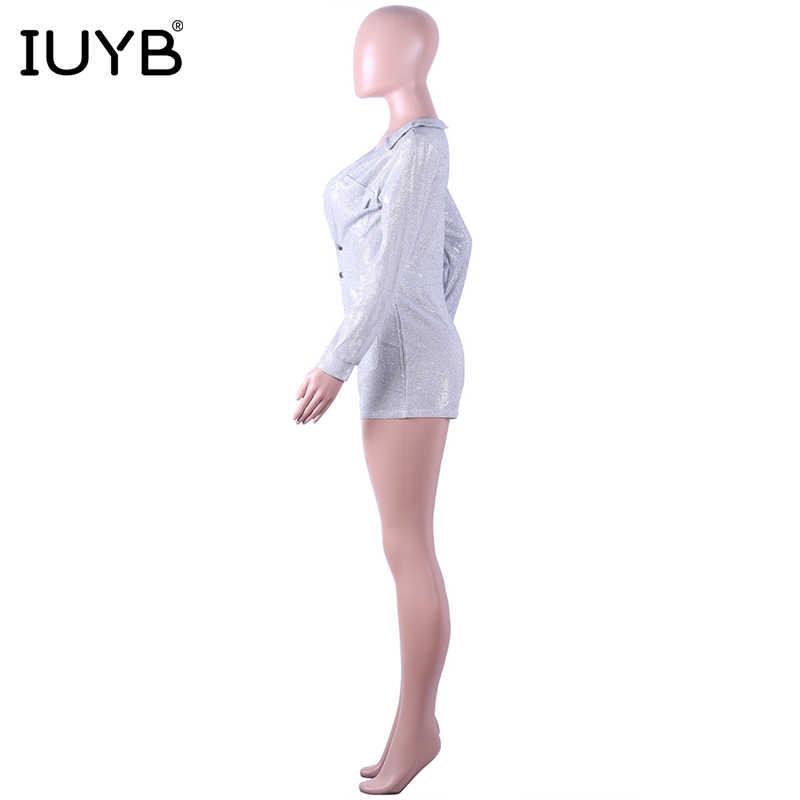 IUYB Весна 2019, высокое качество, новинка, дизайн, женские Мини-комбинезоны, сексуальный однотонный комбинезон с вырезом, длинный рукав, кожаный комбинезон, ME194