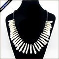 Real Wolf Tooth Fangs Canine Pendant Chain Black Glass Beaded Strand Choker Chunky Statement Bib Necklace Amulet Tribal Jewelry