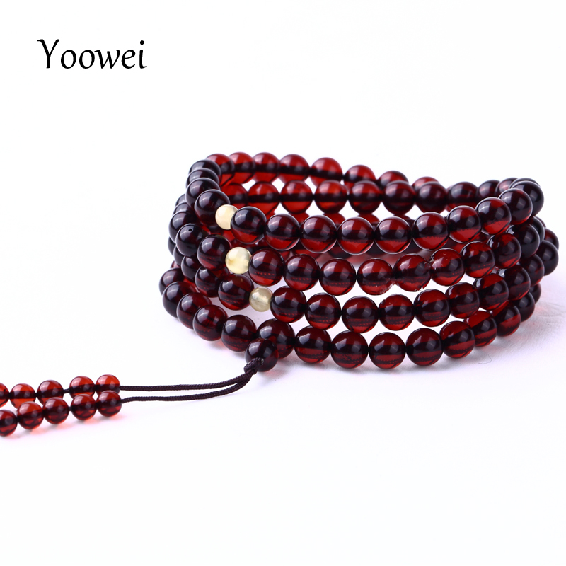Yoowei 108 Beads Amber Bracelet For Women Genuine Real Prayer Beads 4.5mm-7mm Natural Cherry Amber Stone Buddhist Yoga Jewelry crystal lux hollywood ap2 gold