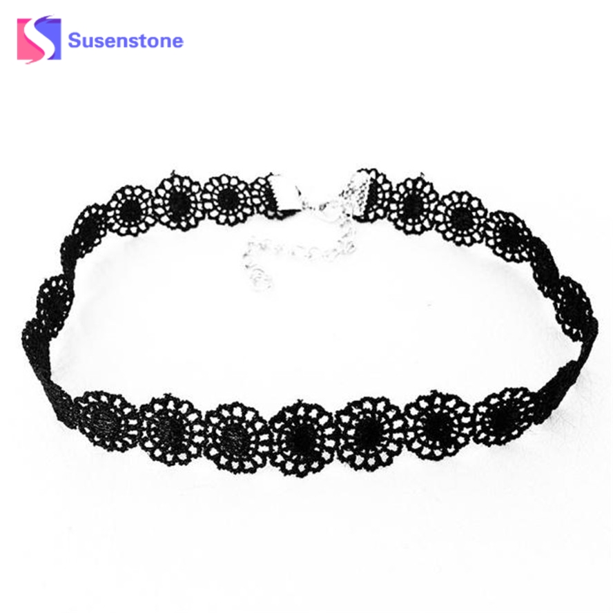 susenstone Choker Necklace Women 2018 Popular Gothic Black Lace Sunflower Tattoo Necklace Vintage Women Girls necklaces Gifts
