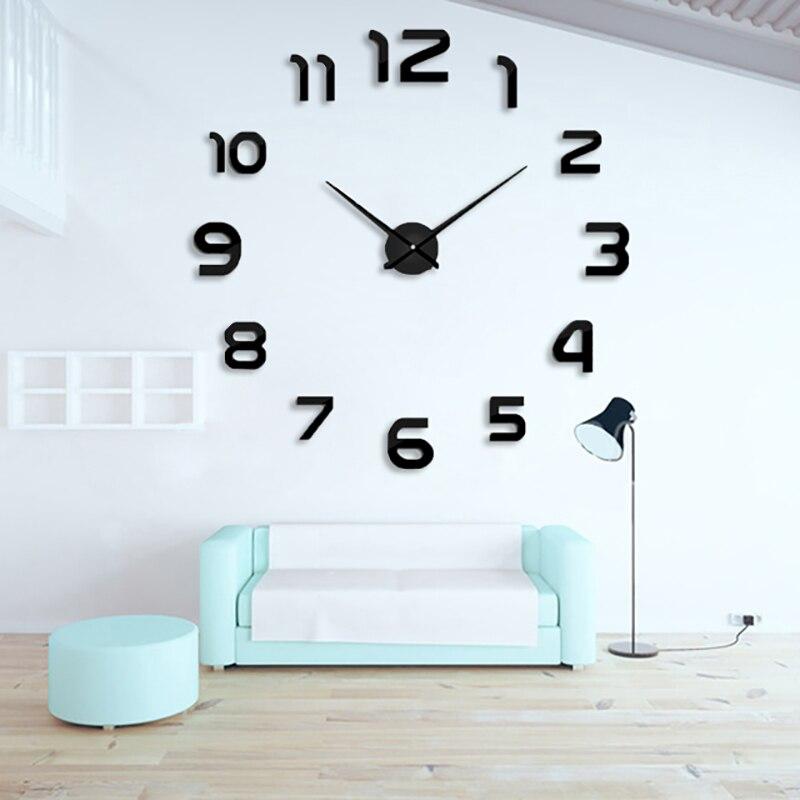 2019 New Fashion 3D Big Size Wall Clock Mirror Sticker DIY Wall Clocks Home Decoration Wall Clock Meetting Room