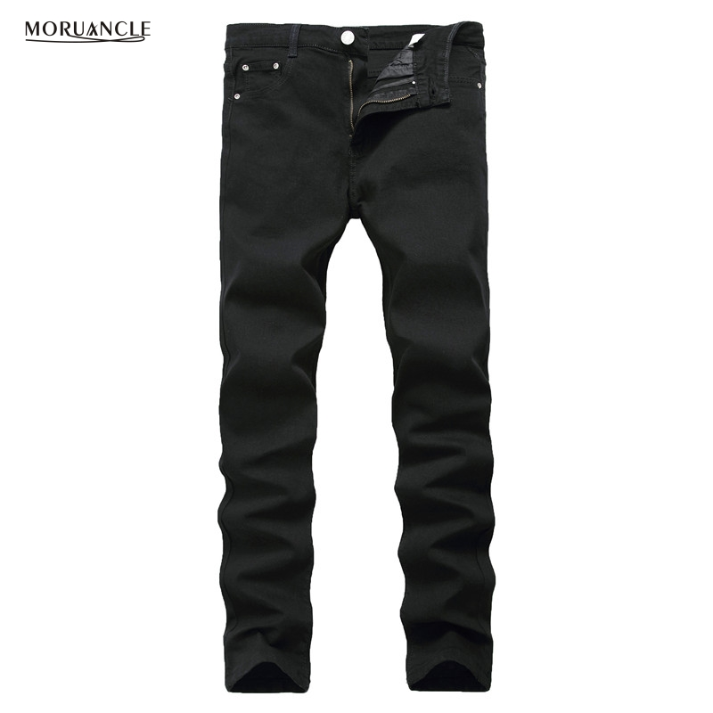 MORUANCLE Fashion Mens Black Plain Jeans Pants Slim Fit Stretch Solid Denim Joggers Brand Designer JEans Trousers For Male E0275 spring summer women flat ol party shoes pointed toe slip on flats ladies loafer shoes comfortable single casual flats size 34 41