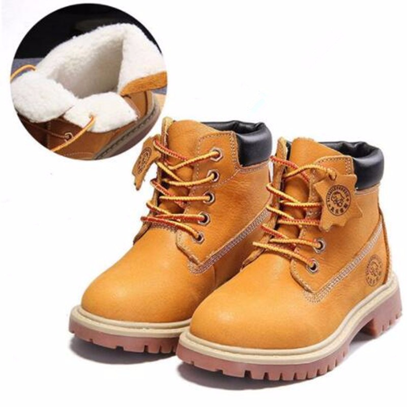 2017 High grade children shoes genuine leather baby boys shoes martin boots waterproof breathable Lace Up