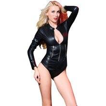 189ddde8543 Long Sleeve Latex Lingerie Gothic Faux Leather Bodysuit Zipper Fetish Wetlook  PVC Catsuit Erotic Clubwear Plus Size PU Jumpsuit
